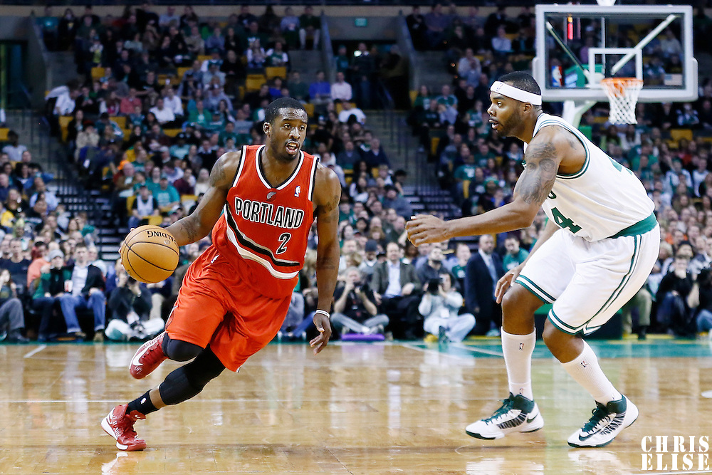 30 November 2012: Portland Trail Blazers shooting guard Wesley Matthews (2) drives past Boston Celtics power forward Chris Wilcox (44) during the Boston Celtics 96-78 victory over the Portland Trail Blazers at the TD Garden, Boston, Massachusetts, USA.