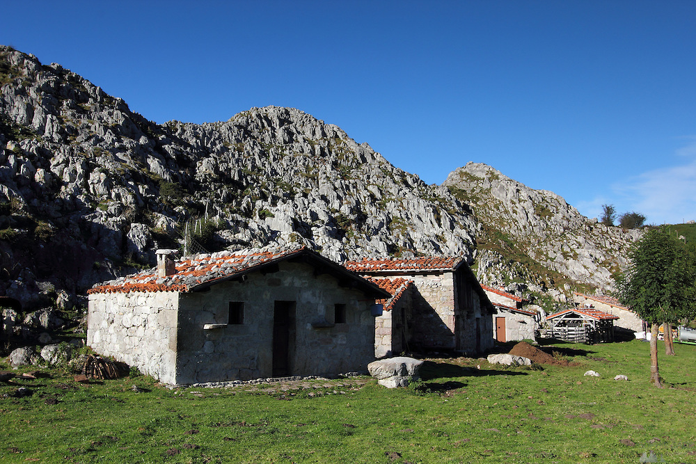 Houses in the tiny hamlet of Majada de Belbin in the Picos de Europa, a cheese-making place