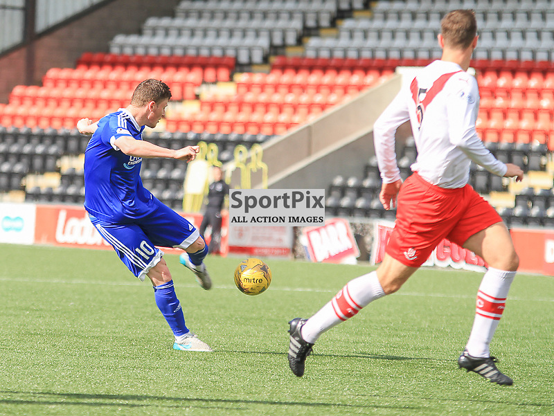 Airdrieonians V Peterhead  Scottish League One 29 August 2015;  Peterhead's Shane Sutherland takes a strike at goal during the Airdrieonians V Peterhead Ladbrokes Scottish League One match played at Excelsior Stadium, Airdrie.