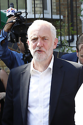 © Licensed to London News Pictures. 19/06/2017. London, UK.Labour Party Leader Jeremy Corbyn leaves Finsbury Park Mosque. The scene at Finsbury Park in north London where a van ploughed into a crowd outside Finsbury Park Mosque, as they finished taraweeh, Ramadan evening prayers. One person has been killed and 10 people are injured. Photo credit: Peter Macdiarmid/LNP