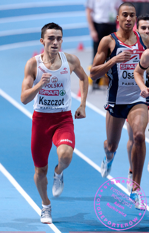 ADAM KSZCZOT (POLAND) COMPETES IN MEN'S 800 METERS FINAL DURING EUROPEAN ATHLETICS INDOOR CHAMPIONSHIPS PARIS 2011 AT BERCY HALL..ADAM KSZCZOT WON GOLD MEDAL...PARIS , FRANCE , MARCH 06, 2011..( PHOTO BY ADAM NURKIEWICZ / MEDIASPORT )..PICTURE ALSO AVAIBLE IN RAW OR TIFF FORMAT ON SPECIAL REQUEST.