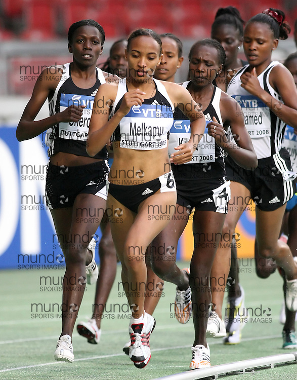 (Stuttgart, Germany---13 September 2008) Meselech Melkamu of Ethiopia runs to third (14:58.76) in the 5000m at the 2008 IAAF World Athletics Final. [Copyright Sean W. Burges/Mundo Sport Images, 2008.]