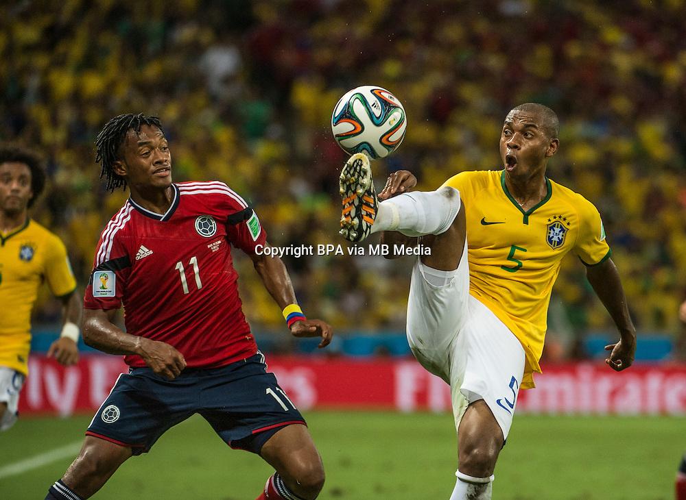 Juan CUADRADO and Fernandinho. Brazil v Colombia, quarter-final. FIFA World Cup Brazil 2014. Castelao stadium, Fortaleza. 4 July 2014.