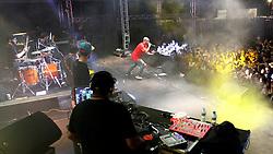 Banda Projota no palco Pretinho Convida do Planeta Atlântida 2013/RS, que acontece nos dias 15 e 16 de fevereiro na SABA, em Atlântida. FOTO: Marcos Nagelstein/Preview.com