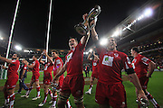 Queensland Reds captain James Horwill  & Rob Simmons following their victory in the Super Rugby Final at Suncorp Stadium in Brisbane,  July 9, 2011.  Photo: Patrick Hamilton/Photosport
