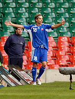 Photo: Leigh Quinnell.<br /> Wales v Slovakia. UEFA European Championships 2008 Qualifying. 07/10/2006. Dusan Svento celebrates scoring the first goal for Slovakia.