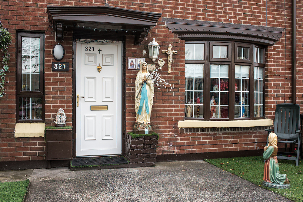 The entrance of a catholic home in Bombay Street area in Belfast. Despite the Troubles have been mainly a political conflict, historically Republicans are Catholics and Loyalists protestants giving a strong religious significance to the two factions.