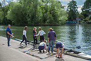 Maidenhead. Berkshire. United Kingdom. General View. Henley RC Women's Junior crew prepare to boat and compete at 2017 Maidenhead Junior Regatta  River Thames. <br />