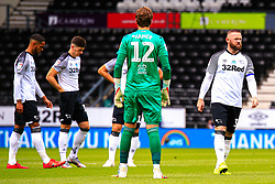 Wayne Rooney of Derby County and his teammates warm up moments before kick off - Mandatory by-line: Ryan Crockett/JMP - 11/07/2020 - FOOTBALL - Pride Park Stadium - Derby, England - Derby County v Brentford - Sky Bet Championship