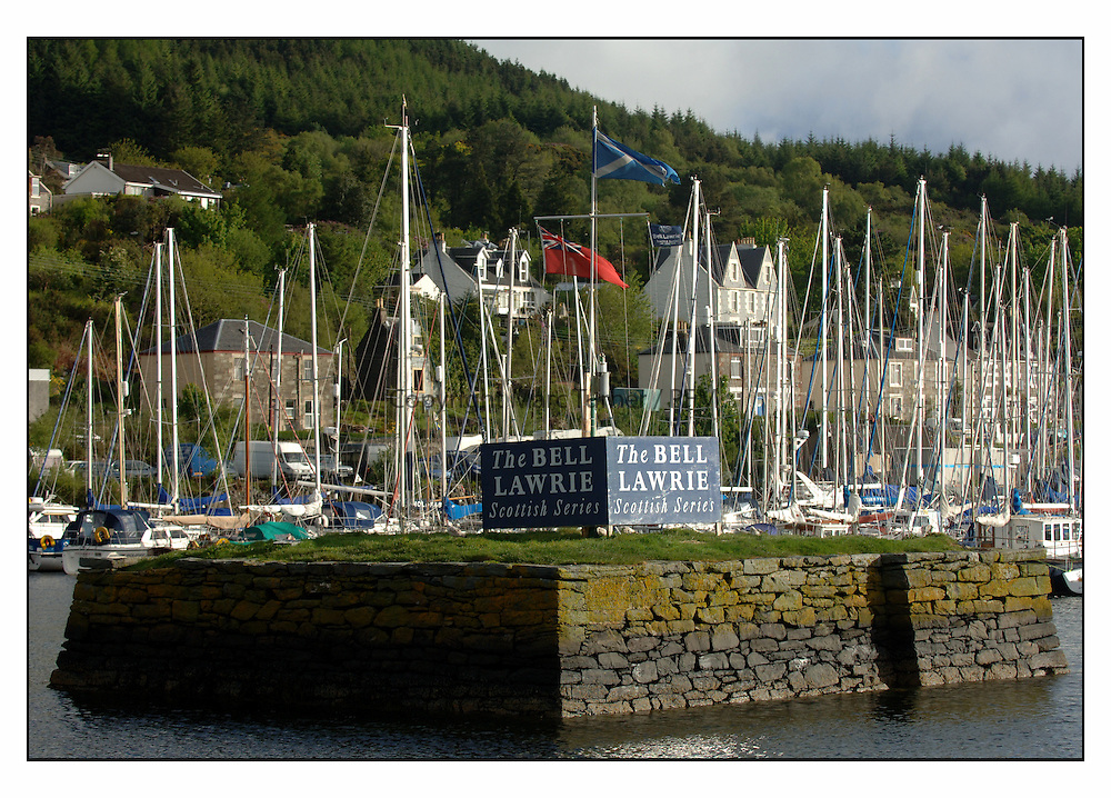 The Bell Lawrie Yachting Series in Tarbert Loch Fyne ..Shoreside in the fishing village f Tarbert Loch Fyne....The Beilding, or fishing island, with branding in the middle of Tarbert Harbour.