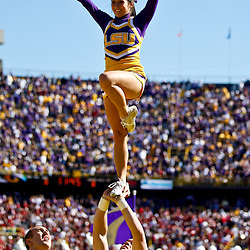 November 6, 2010; Baton Rouge, LA, USA; LSU Tigers cheerleaders perform during a game against the Alabama Crimson Tide at Tiger Stadium. LSU defeated Alabama 24-21.  Mandatory Credit: Derick E. Hingle