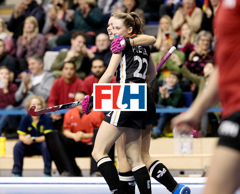 BERLIN - Indoor Hockey World Cup<br /> Women: Germany  - Australia<br /> foto: Anne Schroeder and Cecile Pieper.<br /> WORLDSPORTPICS COPYRIGHT FRANK UIJLENBROEK