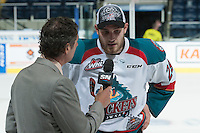 KELOWNA, CANADA - MAY 13: Sportsnet interviews Leon Draisaitl #29 of Kelowna Rockets after winning the WHL Championship on May 13, 2015 during game 4 of the WHL final series at Prospera Place in Kelowna, British Columbia, Canada.  (Photo by Marissa Baecker/Shoot the Breeze)  *** Local Caption *** Leon Draisaitl'