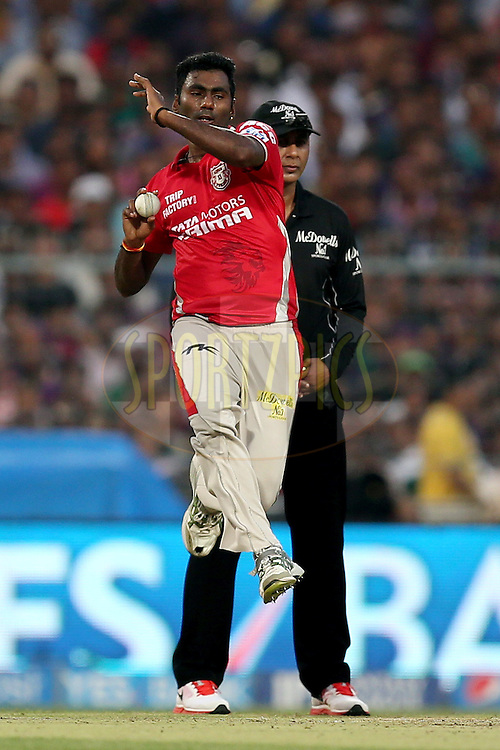 Parvinder Awana during the first qualifier match (QF1) of the Pepsi Indian Premier League Season VII 2014 between the Kings XI Punjab and the Kolkata Knight Riders held at Eden Gardens Cricket Stadium, Kolkata, India on the 28th May 2014. Photo by Jacques Rossouw / IPL / SPORTZPICS<br /> <br /> <br /> <br /> Image use subject to terms and conditions which can be found here:  http://sportzpics.photoshelter.com/gallery/Pepsi-IPL-Image-terms-and-conditions/G00004VW1IVJ.gB0/C0000TScjhBM6ikg