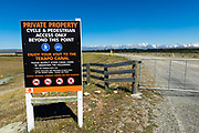 Sign at the start of the Tekapo Canal, Lake Tekapo, Canterbury, South Island, New Zealand