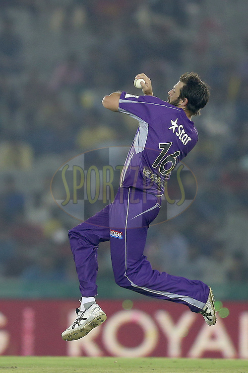 Ben Hilfenhaus in his delivery stride during match 2 of the Oppo Champions League Twenty20 between the Kings XI Punjab and the Hobart Hurricanes held at the Punjab Cricket Association Stadium, Mohali, India on the 18th September 2014. Photo by:  Jacques Rossouw / Sportzpics/ CLT20<br /> <br /> <br /> Image use is subject to the terms and conditions as laid out by the BCCI/ CLT20.  The terms and conditions can be downloaded here:<br /> <br /> http://sportzpics.photoshelter.com/gallery/CLT20-Image-Terms-and-Conditions-2014/G0000IfNJn535VPU/C0000QhhKadWcjYs