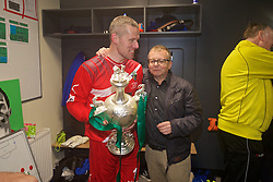 WREXHAM, WALES - Monday, May 2, 2016: The New Saints' captain goalkeeper Paul Harrison celebrates with club chairman Mike Harris after the 2-0 victory over Airbus UK Broughton during the 129th Welsh Cup Final at the Racecourse Ground. (Pic by David Rawcliffe/Propaganda)
