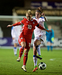NEWPORT, WALES - Thursday, April 4, 2019: Wales' Jessica Fishlock (L) and Czech Republic's Antonie Starova during an International Friendly match between Wales and Czech Republic at Rodney Parade. (Pic by David Rawcliffe/Propaganda)