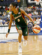 Seattle Storm forward Iziane Castro Marques dribbles during this WNBA game between the Mystics and the Storm at the Verizon Center in Washington, DC. The Storm won 73-71.  July 23, 2006  (Photo by Mark W. Sutton)