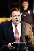 Tim Keating, former Chief of Staff in the White House Office of Legislative Affairs, speaks to the media following testimony at the Starr Grand Jury investigating the Monica Lewinsky affair February 25, 1998 in Washington, DC. Keating hired Lewinsky for a paying job in the Office of Legislative Affairs after her White House internship, and later transferred her to the Pentagon.