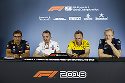 July 20, 2018 - Hockenheim, Germany - Motorsports: FIA Formula One World Championship 2018, Grand Prix of Germany, ..Pierre Wache (Aston Martin Red Bull Racing), Paddy Lowe (GBR, Williams Martini Racing), Bob Bell (Renault Sport Formula One Team), Andrew Green (Sahara Force India F1 Team) (Credit Image: © Hoch Zwei via ZUMA Wire)