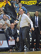 Head coach Gregg Marshall of the Wichita State Shockers tosses his jacket in frustration, after a foul call against the Shockers during the second half against the Bradley Braves on January 7, 2015 at Charles Koch Arena in Wichita, Kansas.