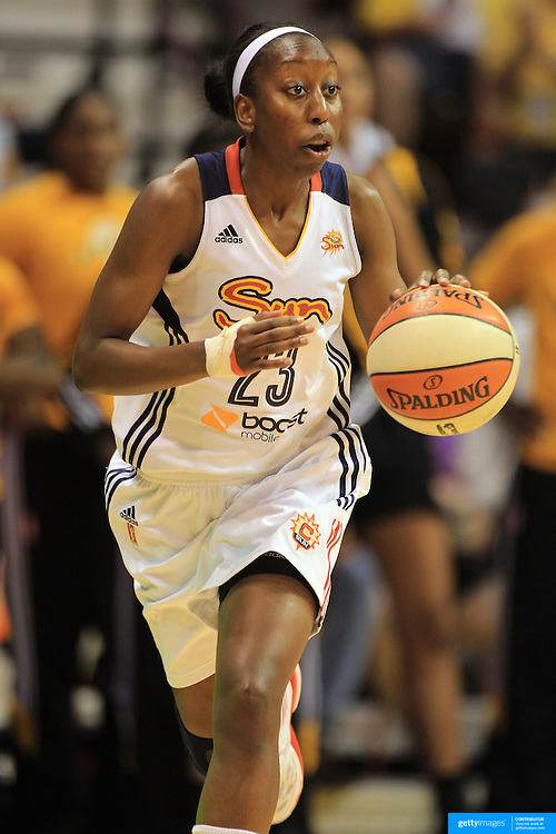 Allison Hightower, Connecticut Sun, in action during the Connecticut Sun V Tulsa Shock WNBA regular game at Mohegan Sun Arena, Uncasville, Connecticut, USA. 2nd July 2013. Photo Tim Clayton