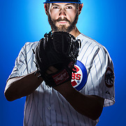 March 2, 2015: Pitcher Jake Arrieta (49) poses for a portrait during the Chicago Cubs photo day in Mesa, AZ.