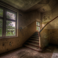 An abandoned Soviet sports hospital in East Germany with stairway