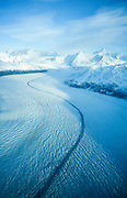 Medial moraine on Knik Glacier as it descends from Marcus Baker in the Chugach Mountain Range.