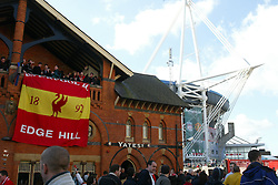 CARDIFF, WALES - Sunday, March 2, 2003: Liverpool's fans outside the Millennium Stadium, Cardiff, Wales ahead of the Football League Cup Final against Manchester United. (Pic by David Rawcliffe/Propaganda)