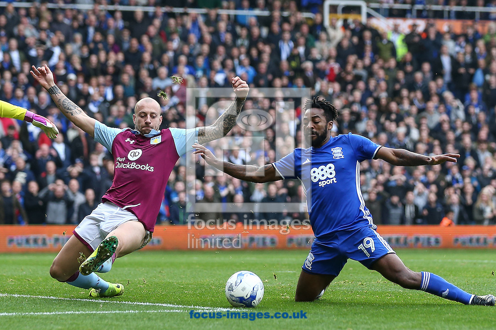 Alan Hutton of Aston Villa (left) competing with Jacques Maghoma of Birmingham City (right) during the Sky Bet Championship match at St Andrews, Birmingham<br /> Picture by Andy Kearns/Focus Images Ltd 0781 864 4264<br /> 30/10/2016