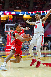 NORMAL, IL - February 16: Dwayne Lautier-Ogunleye presses in against defender Zach Copeland during a college basketball game between the ISU Redbirds and the Bradley Braves on February 16 2019 at Redbird Arena in Normal, IL. (Photo by Alan Look)