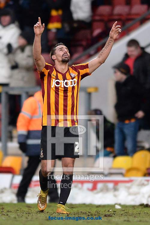 Filipe Morais of Bradford City celebrates scoring his sides first goal to make the scoreline 1-0 during the Sky Bet League 1 match between Bradford City and Colchester United at the Coral Windows Stadium, Bradford<br /> Picture by Richard Blaxall/Focus Images Ltd +44 7853 364624<br /> 31/01/2015