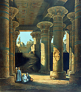 Interior view of the Hall of  Pillars at Esneh'. Lithograph after Karl Richard Lepsius (1810-1884) Prussian Egyptologist.  Isna  Upper Egypt Archaeology Religion Mythology Ancient Egyptian