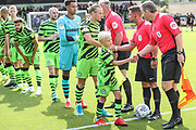 Respect handshake during the EFL Sky Bet League 2 match between Forest Green Rovers and Newport County at the New Lawn, Forest Green, United Kingdom on 31 August 2019.