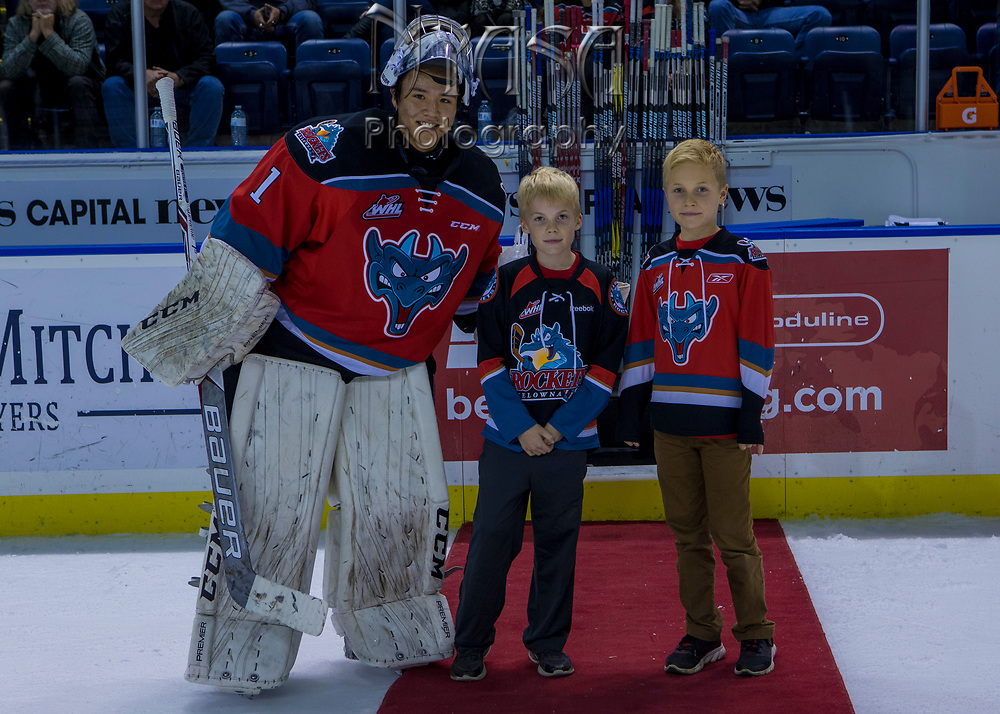 KELOWNA, CANADA - OCTOBER 28:  Second Star of the Game James Porter #1 of the Kelowna Rockets at the Kelowna Rockets game on October 28, 2017 at Prospera Place in Kelowna, British Columbia, Canada.  (Photo By Cindy Rogers/Nyasa Photography,  *** Local Caption ***