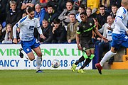 Forest Green Rovers Reece Brown(10) passes the ball forward during the EFL Sky Bet League 2 play off first leg match between Tranmere Rovers and Forest Green Rovers at Prenton Park, Birkenhead, England on 10 May 2019.