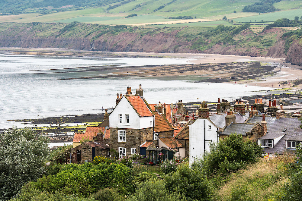 UK, England, Yorkshire - A small fishing village called Robin Hood's Bay, located on the coast of North Yorkshire, England.
