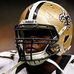 August 17, 2012; New Orleans, LA, USA; New Orleans Saints defensive tackle Brodrick Bunkley (77) against the Jacksonville Jaguars during the second half of a preseason game at the Mercedes-Benz Superdome. The Jaguars defeated the Saints 27-24.  Mandatory Credit: Derick E. Hingle-US PRESSWIRE