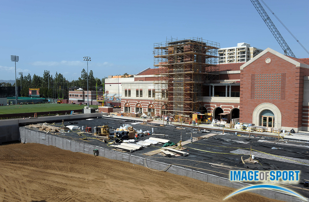 Apr 5, 2012; Los Angeles, CA, USA; General view of the construction of the John McKay Center and Howard Jones Field on the campus of the University of Southern California. The McKay Center will house meeting rooms, coaches offices, an indoor football field and a locker room, along with an academic center, weight room, athletic training room and state-of-the-art digital media production facility for the 21 athletic teams.