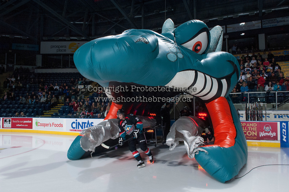 KELOWNA, CANADA - SEPTEMBER 28: Cole Linaker #26 of the Kelowna Rockets enters the ice against the Victoria Royals  at the Kelowna Rockets on September 28, 2013 at Prospera Place in Kelowna, British Columbia, Canada (Photo by Marissa Baecker/Shoot the Breeze) *** Local Caption ***