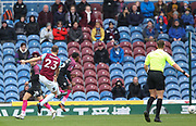Erik Pieters of Burnley shoots to score his first goal during the The FA Cup match between Burnley and Peterborough United at Turf Moor, Burnley, England on 4 January 2020.