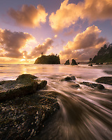 Sunset and crashing waves along the rugged Olympic Coast, Ruby Beach, Olympic National Park, WA, USA