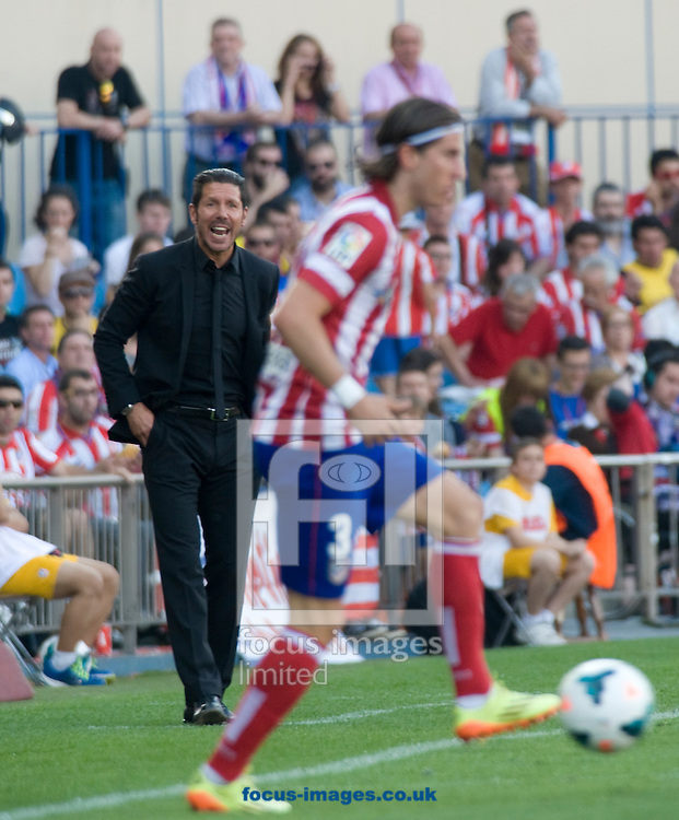 Simeone, coach of Atl&eacute;tico Madrid during the La Liga match at Vicente Calder&oacute;n Stadium, Madrid<br /> Picture by Marcos Calvo Mesa/Focus Images Ltd +34 654142934<br /> 11/05/2014