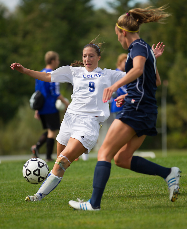 Cami Notaro, of Colby College, in an NCAA Division III college soccer game against Middlebury College at Colby College, Thursday Sept. 15, 2012 in Waterville, ME. (Dustin Satloff/Colby College Athletics)