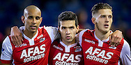 BREDA, NAC Breda - AZ voetbal Eredivisie seizoen 2014-2015, 08-11-2014, Rat Verlegh Stadon, AZ speler Celso Ortiz (M), AZ speler Simon Poulsen (L) en AZ speler Jeffrey Gouweleeuw (R) vieren de overwinning.