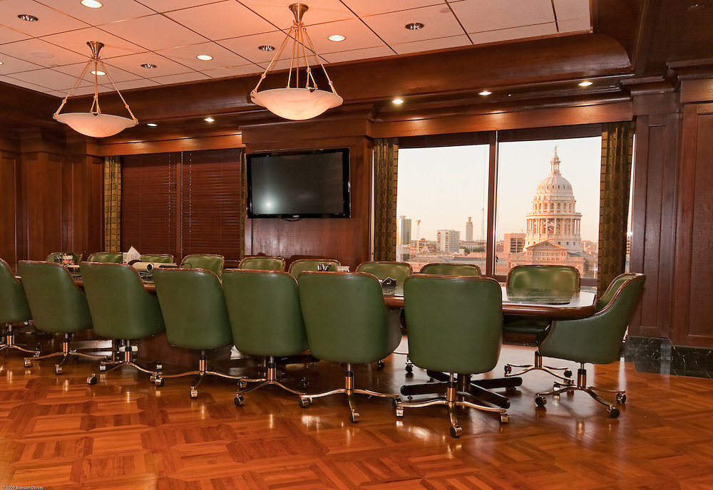 Elegant conference room has stunning view of Texas Capital Building.