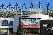 Flags flying at half mast in honour former Derby County manager Jim Smith  with past away this week, during the EFL Sky Bet Championship match between Derby County and Millwall at the Pride Park, Derby, England on 14 December 2019.