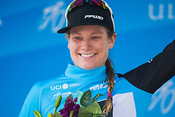 Lily Williams (USA) of Hagens-Berman Supermint Cycling Team celebrates wearing the most active rider's blue jersey on Stage 2 of the Amgen Tour of California - a 108 km road race, starting and finishing in South Lake Tahoe on May 18, 2018, in California, United States. (Photo by Balint Hamvas/Velofocus.com)